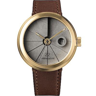 四度空間水泥機械錶-簡約黃銅款-45mm