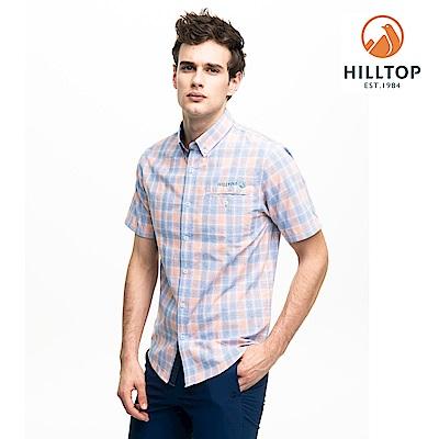 【hilltop山頂鳥】男款吸濕快乾抗UV短袖襯衫S06M66橘藍格紋