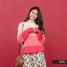 【KiKi】高翻領漸層長袖-針織衫(紅色)