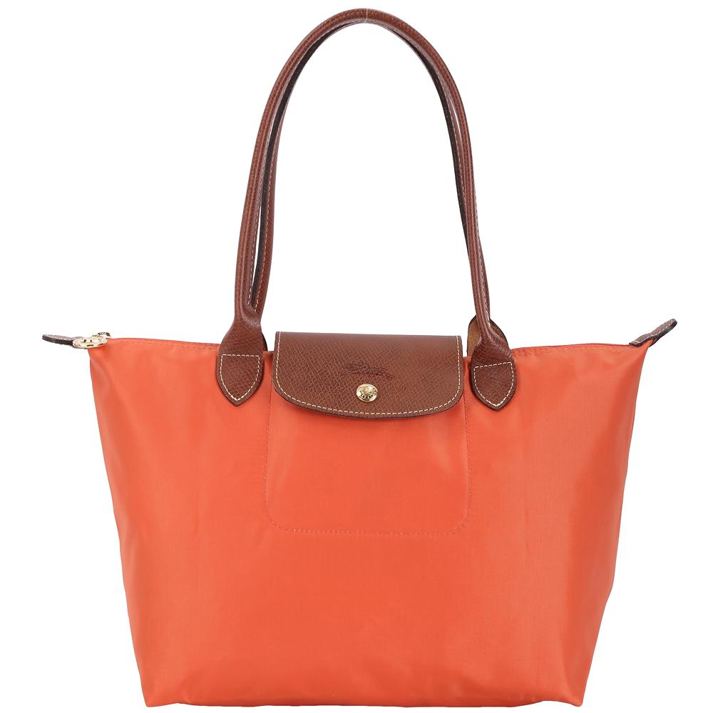 LONGCHAMP Le pliage 小型長提把摺疊水餃包(赤橙色) @ Y!購物