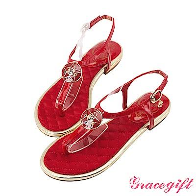 Grace gift-美少女戰士月光水晶亮漆T字涼鞋 紅