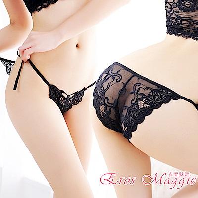 內褲 綁帶蕾絲透明性感低腰內褲 EM衣柔魅姬(黑色)