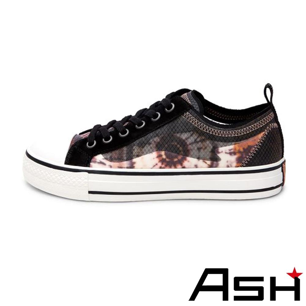 ASH-VERTU時尚蟬翼網面撞色低筒厚底帆布鞋-黑