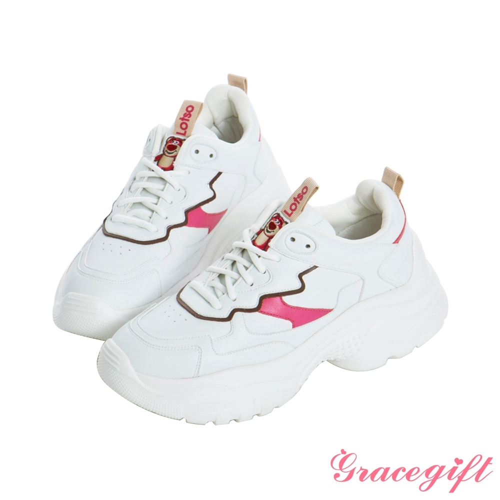 Disney collection by grace gift-玩總熊抱哥電繡撞色老爹鞋 桃紅