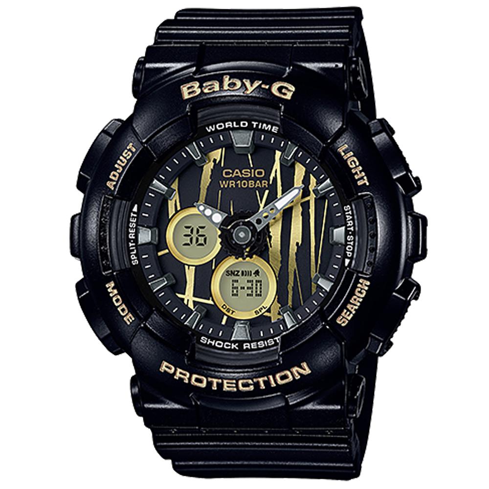 BABY-G 街頭塗鴉城市搖滾風格休閒錶(BA-120SP-1A)黑色43.4mm