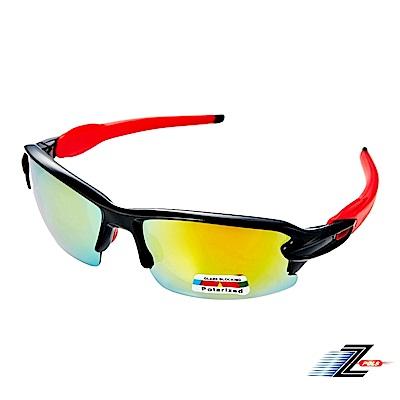 【Z-POLS】超舒適配戴感黑紅設計 搭載七彩Polarized強抗UV400偏光運動眼鏡