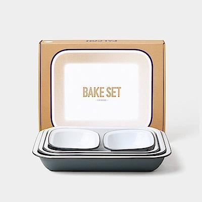 英國Falcon 獵鷹琺瑯 Bake Set 烘焙烤盤五件組 古典灰