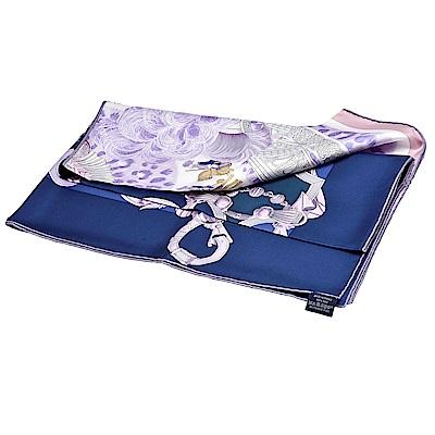 HERMES 經典Plumets du Roy系列戰馬圖騰絲質方巾/披巾(粉紫X水手藍)