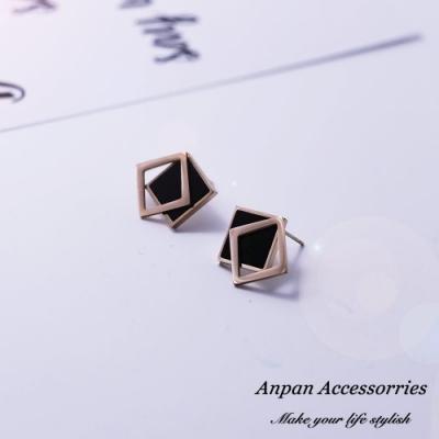 【Anpan 愛扮】韓東大門個性鈦鋼幾何方形耳釘式耳環