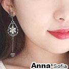 AnnaSofia 線繞晶綻花瓣 中大型耳針耳環(金系)