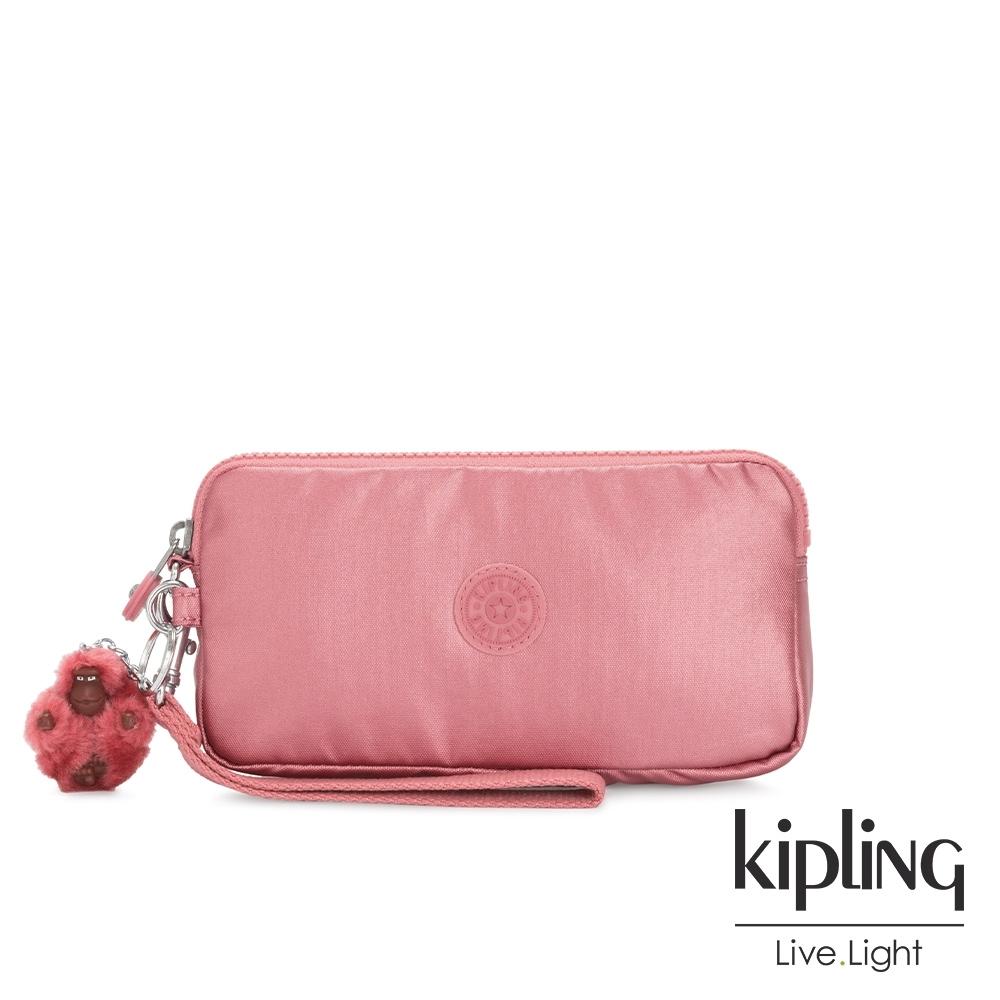 Kipling 甜美俏皮粉手拿包-LOWIE