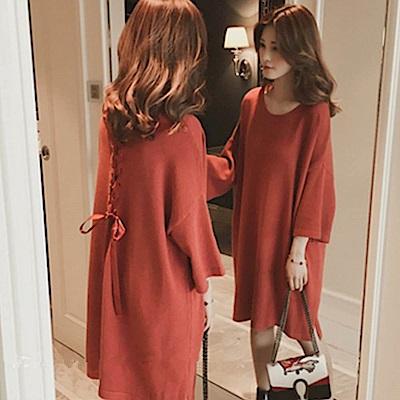 出清La Belleza背緞帶穿繩交叉混兔毛柔軟寬鬆針織洋裝(情人節送禮)