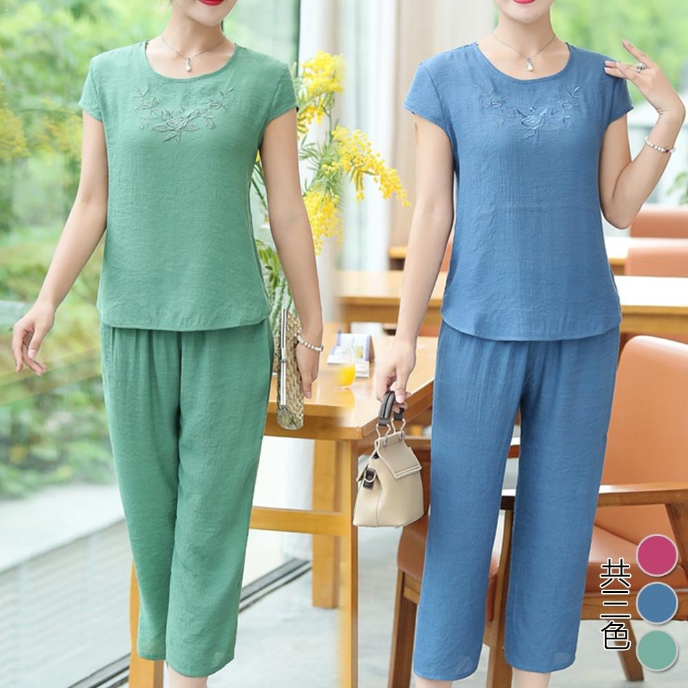 【韓國K.W.】(預購) 多色刺繡棉麻優雅氣質套裝褲