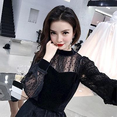 DABI韓國風性感透視網紗上衣抹胸絲絨連身短褲套裝長袖褲裝