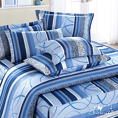 BUTTERFLY-台製40支紗純棉加高30cm加大雙人床包+薄式信封枕套-圈圈愛戀-藍
