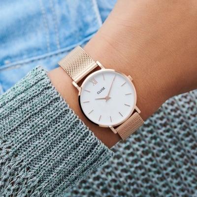CLUSE Minuit 午夜系列腕錶 (玫瑰金框/白錶面/玫瑰金不鏽鋼錶帶) 33mm