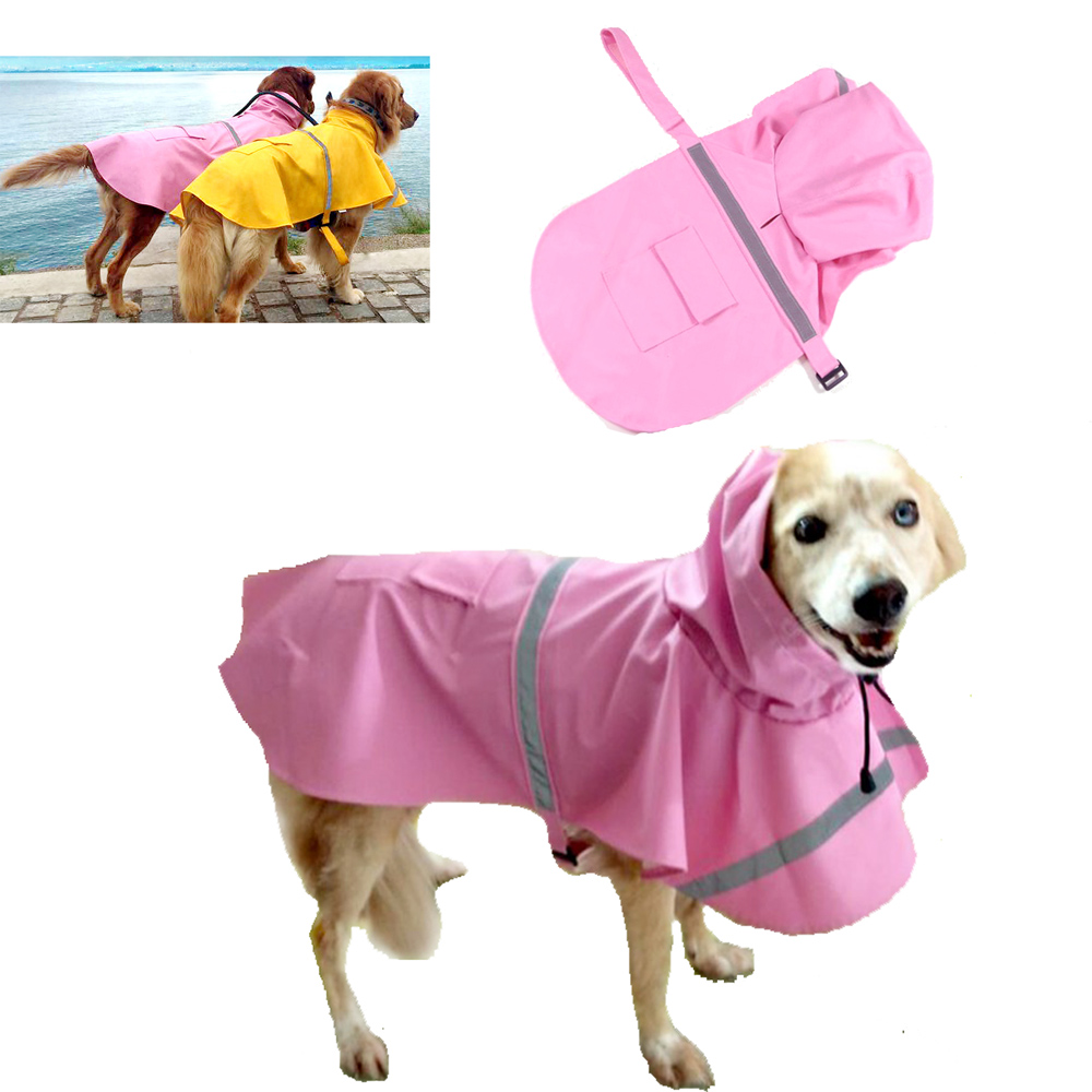 摩達客寵物系列-寵物大狗小狗透氣防水雨衣(粉紅色/反光條)