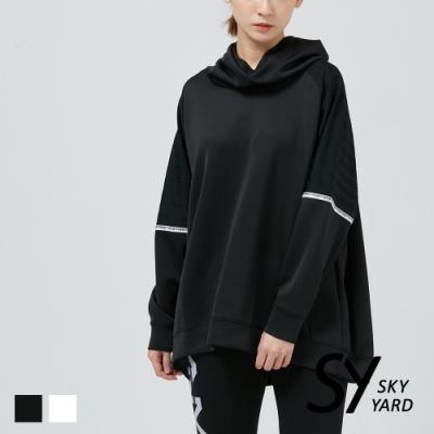 【SKY YARD 天空花園】袖口拼接網格長袖帽T-黑色