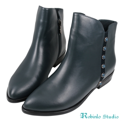 Robinlo 高級全牛皮復古寶石尖頭短靴 藍色