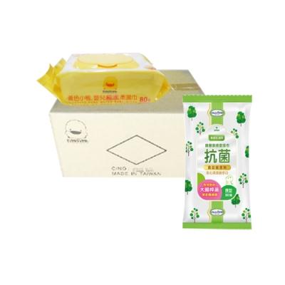 黃色小鴨盒蓋嬰兒純水柔濕巾(80抽*24包/箱)+貝恩Baan潔膚抗菌柔濕巾30抽*1包