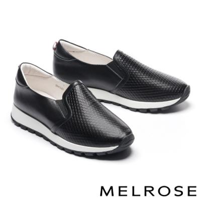 休閒鞋 MELROSE 時尚魅力純色壓紋全真皮厚底休閒鞋-黑