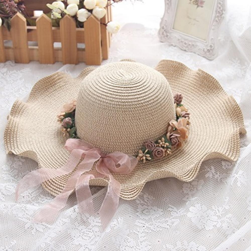 米蘭精品 草帽防曬遮陽帽-優雅花環絲帶母親節情人節生日禮物女帽子2色73rp35