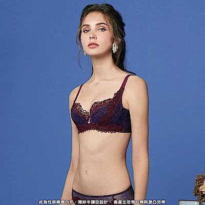 曼黛瑪璉 法式香吻無襯內衣  E-F罩杯(豹紋紫)