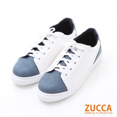 ZUCCA-雙拼撞色繫帶休閒鞋-藍-z6217be
