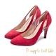 Pineapple Outfitter-PLLINA派對女神尖頭麂皮高跟鞋-絨紅色 product thumbnail 1