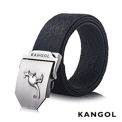 KANGOL EVOLUTION系列 英式潮流休閒自動釦皮帶-黑色網紋 KG1181