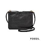 FOSSIL DEVON 黑色多夾層真皮斜背小方包