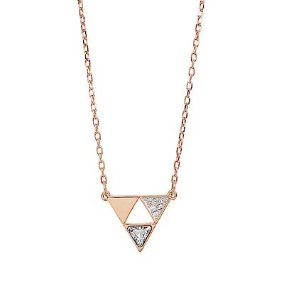 SWAROVSKI 施華洛世奇 璀璨倒三角幾何造型水晶玫瑰金項鍊