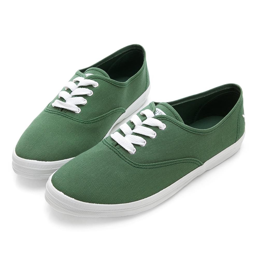 PLAYBOY簡約情人 後側兔頭電繡帆布鞋-綠