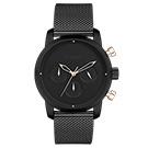 LOVME Stardust米蘭帶款時尚手錶-IP黑x玫/43mm