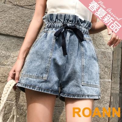 高腰蝴蝶結綁帶花苞牛仔短褲 (藍色)-ROANN
