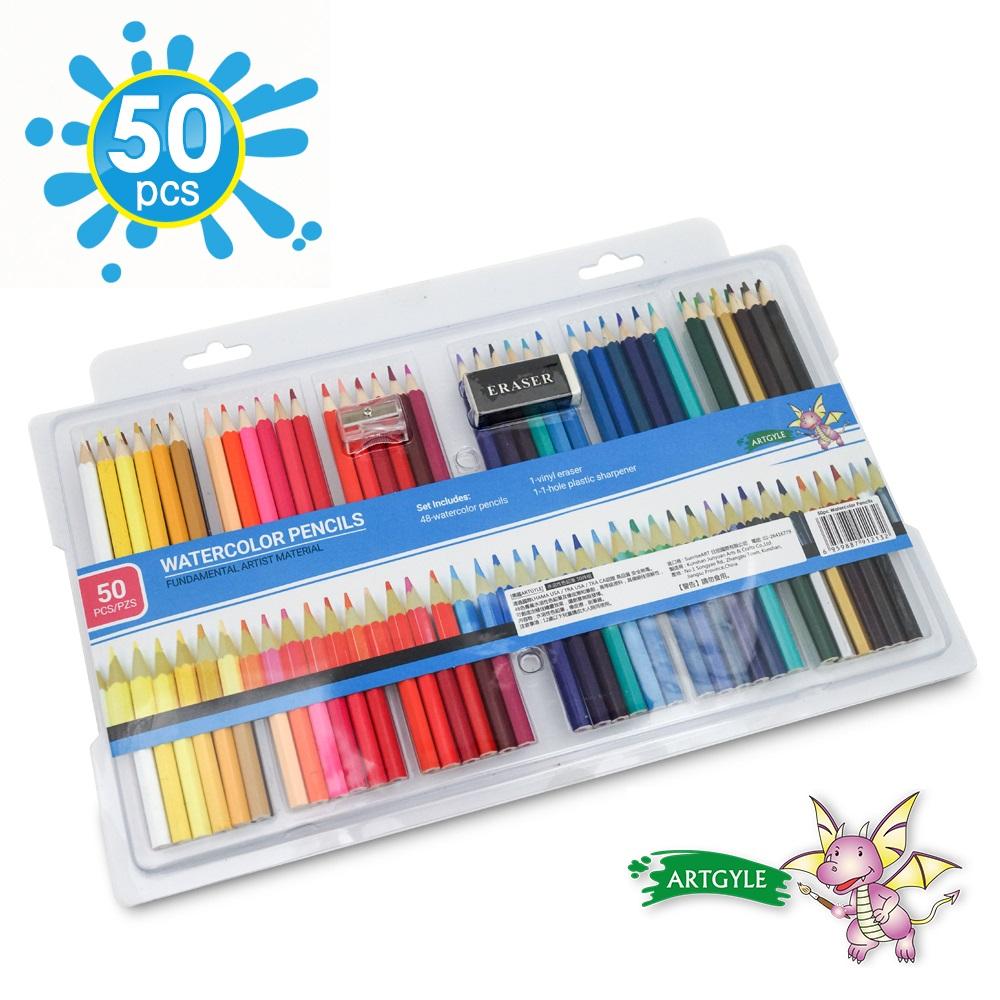 美國ARTGYLE 安全無毒水溶性彩色鉛筆50件組