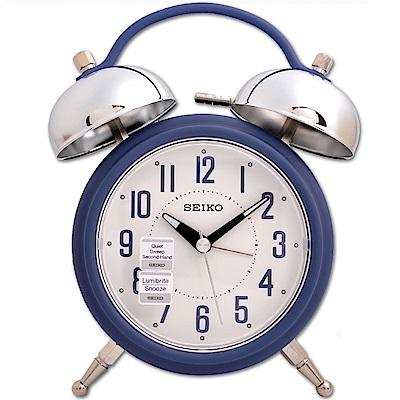 SEIKO精工 復古消光霧面外型滑動式秒針 夜光 貪睡鬧鐘-湛藍