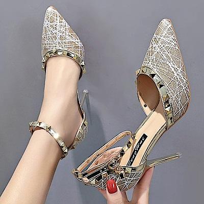 KEITH-WILL時尚鞋館 時尚潮流春意昂然個性高跟鞋-金色