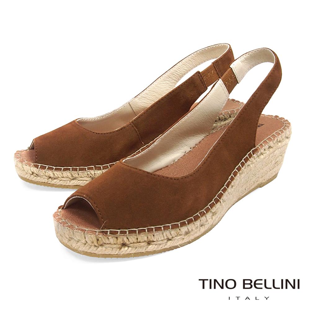 Tino Bellini 西班牙進口簡約麂皮魚口麻編楔型涼鞋 _ 棕