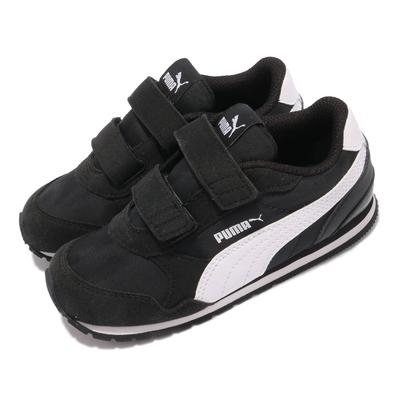 Puma 休閒鞋 ST Runner v2 NL V 童鞋 魔鬼氈 外出 麂皮 穿搭推薦 小童 黑 白 36529501