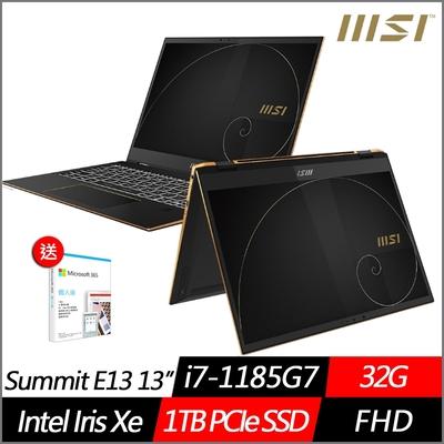 (附M365 15個月)MSI微星 Summit E13 Flip Evo A11MT-031TW 13.4吋翻轉商務筆電(i7-1185G7/32G/1TB PCIe SSD/Win10Pro)