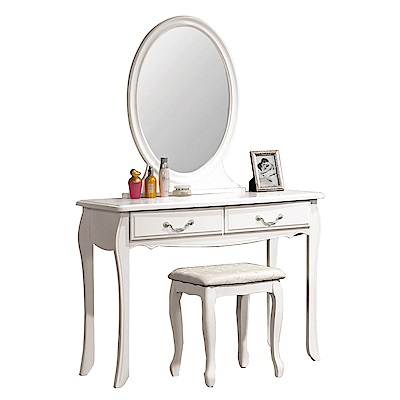 文創集 琳達法式白3.2尺直立式鏡面化妝台(含化妝椅)-97x45x155.5cm免組