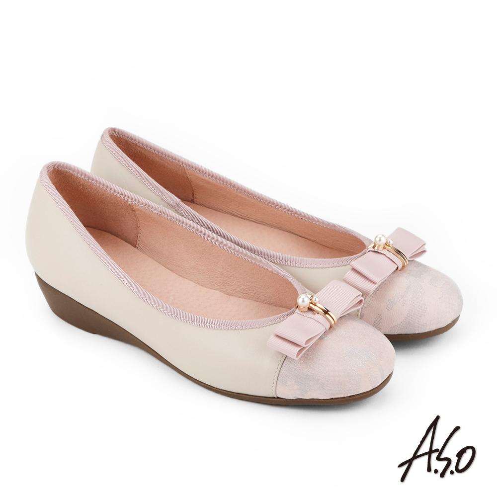 A.S.O 俏麗典雅 珍珠釦飾蝴蝶結低跟鞋 粉