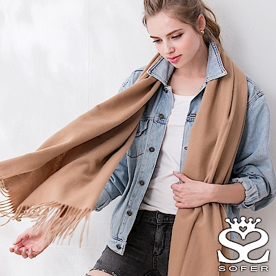 SOFER 簡約素色100%純羊毛保暖披肩/圍巾 - 氣質駝