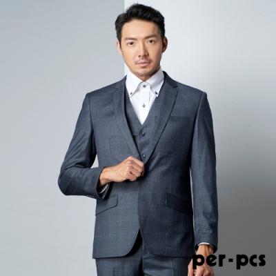 per-pcs 紳士風範修身格紋西裝外套_灰黑色(PNS315)