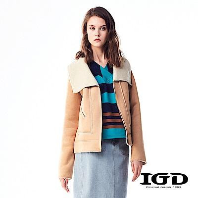 IGD英格麗 率性麂皮刷毛不收邊翻領外套-卡其
