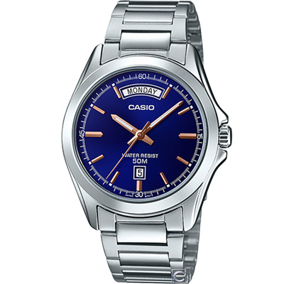 CASIO  俐落型男時尚腕錶(MTP-1370D-2A)藍/39.8mm