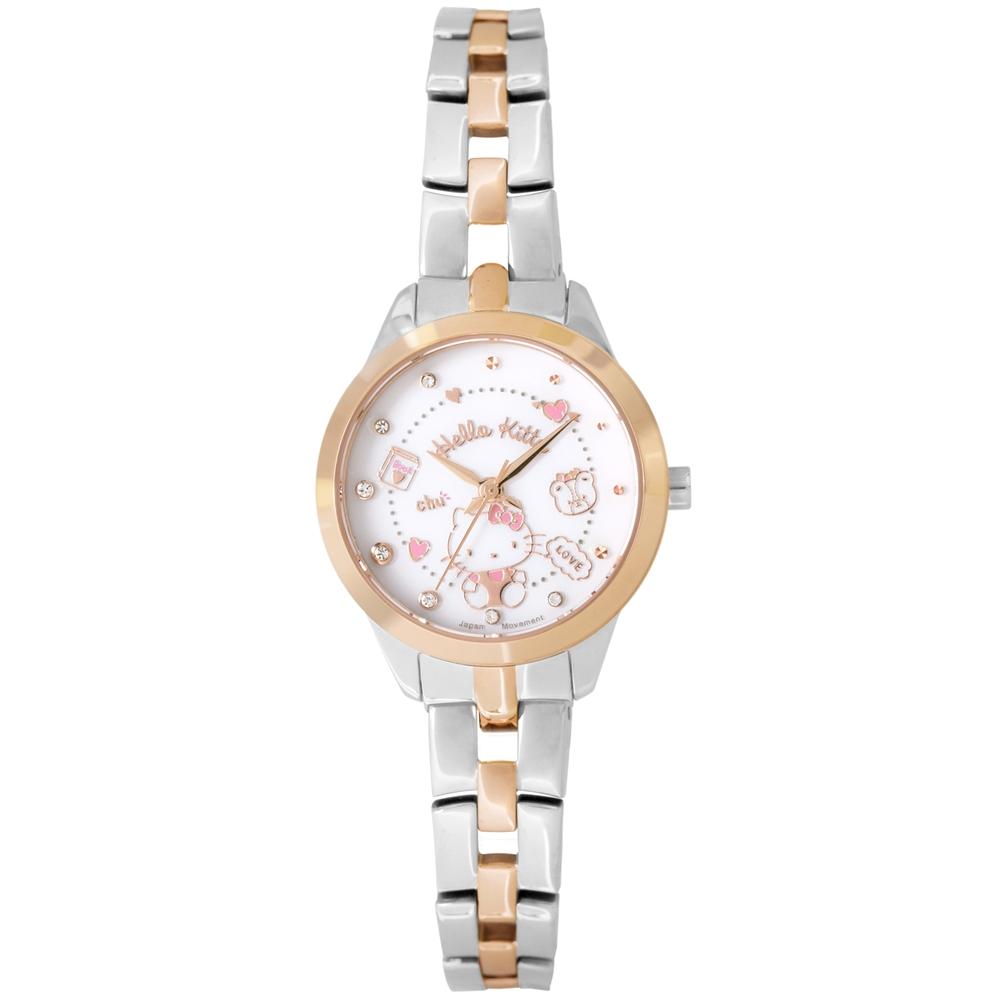 HELLO KITTY 凱蒂貓 微甜繽紛手錶 -白x銀/27mm