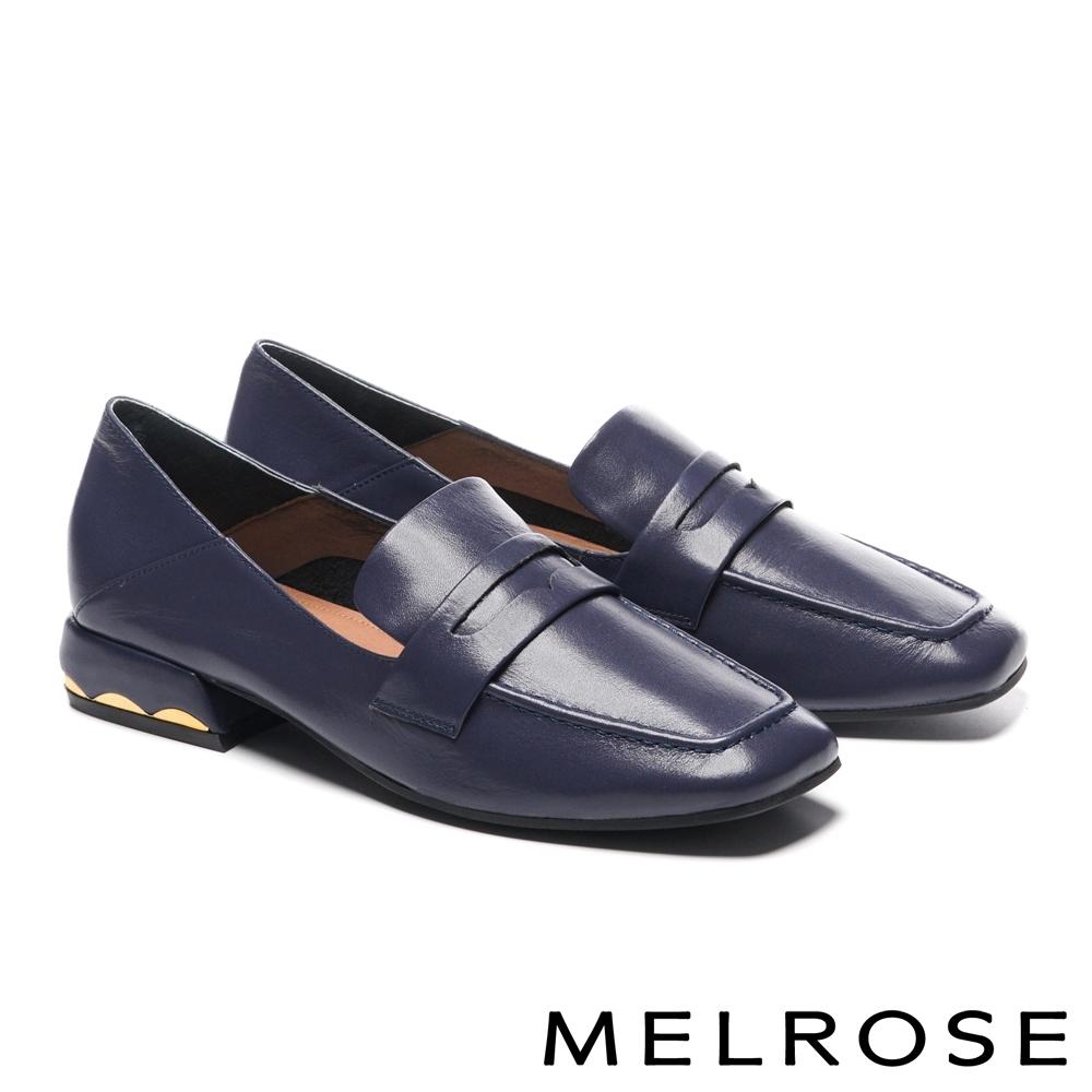低跟鞋 MELROSE 知性質感拼接全真皮方頭樂福低跟鞋-藍