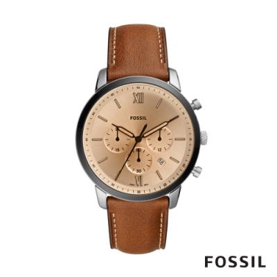 FOSSIL NEUTRA CHRONO 真皮三眼計時男錶-棕色44MM FS5627